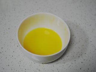 蜜桃乳酪派,蛋黄和水均匀搅拌,再加入细砂糖和盐,拌匀放入冰箱冷藏待用