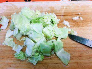 开胃圆白菜,圆白菜切成块状