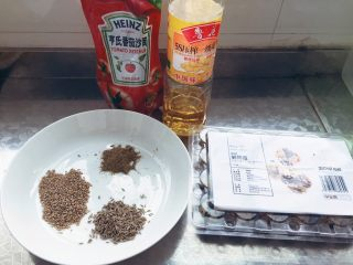 小煎鵪鶉蛋,準備好各種材料,非常簡單,就這幾種。