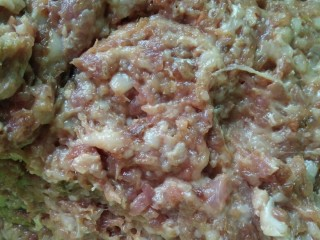 矾山特色小吃肉燕馄饨,猪肉馅加老抽、味精白糖鸡精搅拌均匀。