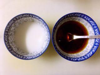 糖醋鸡腿菇(菌菇),一小勺淀粉加入两大勺水调匀