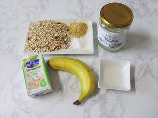 【燕麦香蕉Pancake】(素食低脂版),以上是所需要的食材~