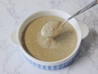 【燕麦香蕉Pancake】(素食低脂版),榨汁机中加入所有食材后,最后倒入香蕉泥。搅打好的面糊干稀合适,也打得很细腻。盛到一个大碗中备用。