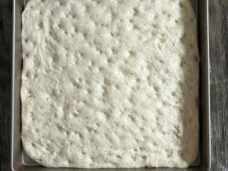 混合香草佛卡夏,用擀面杖擀成和烤盘一样大的正方形后把面团移到烤盘,再松弛15分钟