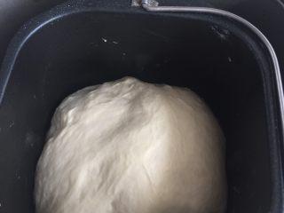 海陆双拼披萨,面包机里的面团发酵完成