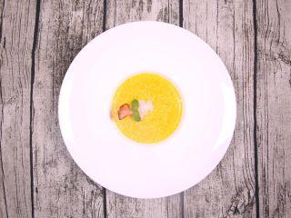 粗粮金汤明虾粥,用上帝视角看一下成菜,是不是很漂亮?
