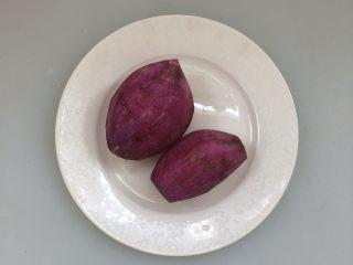 紫薯冰糖银耳羹,紫薯去皮