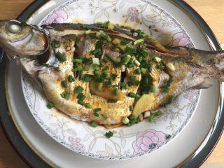 葱油鳊鱼,撒上葱花。