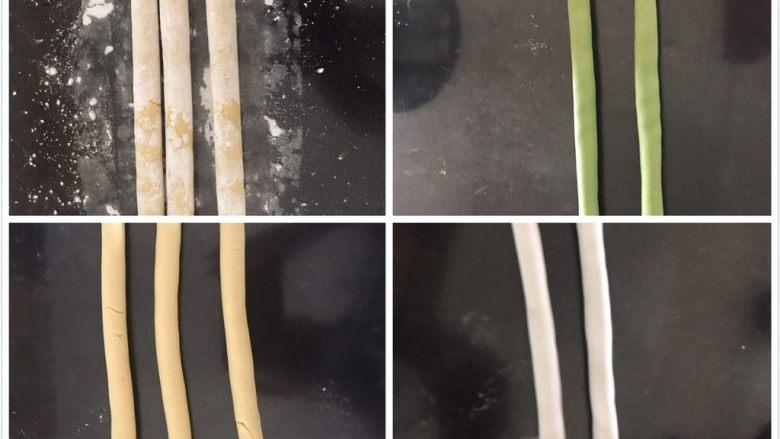 多彩芋圆,搓成长条,要轻轻搓,太用力容易散开,搓好上面撒一点玉米淀粉防粘