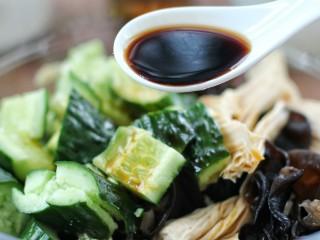 黄瓜腐竹拌木耳,香醋