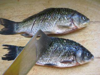 川香豆瓣鱼 :超级美味的下饭神器,.鲫鱼收拾干净在表面划几刀。