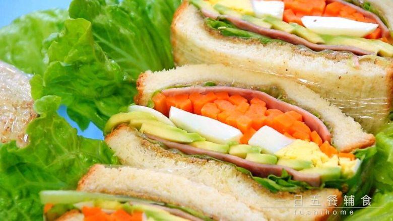 牛油果鸡蛋火腿三明治,尽情享用吧。