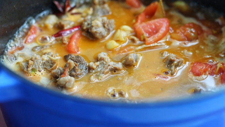 西红柿炖牛肉,添入足够量的热水盖上锅盖,中小火炖煮一小时以上