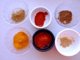 秘制异国风味鸡胸肉腌料&绝佳搭配 (减肥必备),把6种粉类按照份量称取备用
