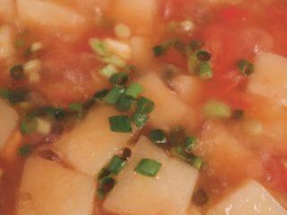 开胃番茄米豆腐,加入葱花即刻出锅