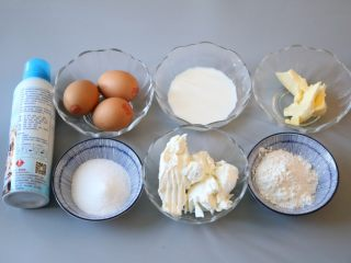轻乳酪蛋糕,准备好所需要的食材。