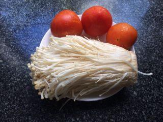 茄汁金针菇,准备食材