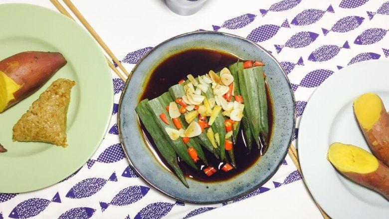 蒸菜不油腻——清蒸秋葵,蒸好的秋葵,成品图