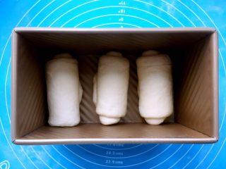 酸奶吐司(一次发酵法),把卷好面团,如图所示依次放进吐司盒