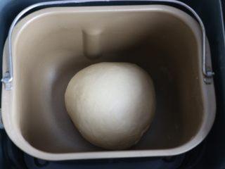 汉堡,将面团揉圆,放入面包桶内发酵。