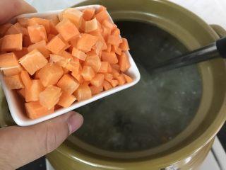 蚝仕咸骨菜干粥,加入红萝卜,再大火烧开转中小火煮约半小时至大米软烂,就可以了 (软烂程度视自己喜欢哈)