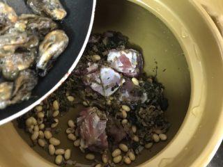 蚝仕咸骨菜干粥,然后把黄豆,菜干,猪骨,蚝仕倒进砂锅里(大米和萝卜后面再放,因此这些比较耐煮,先煮会味道更出众)
