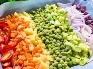 全麦彩虹披萨🌈(无糖无油,减脂增肌必备),将果蔬撒上黑胡椒粉150度烤15分钟。(特别是圣女果黄瓜等爱出水的蔬菜)