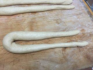 全麦老式面包 中种法,将长条的面对折