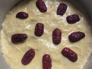 南瓜发糕,红枣对半切开装饰表面