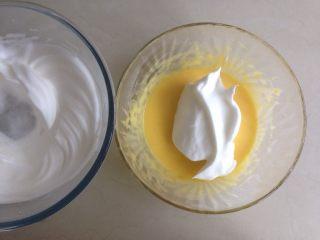 柠檬戚风纸杯蛋糕,取三分之一打发好的蛋白霜,加入到蛋黄糊里,从底部向上翻拌均匀