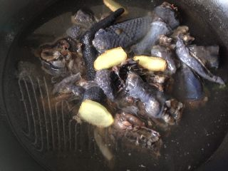 党参虫草乌鸡汤,鸡块儿冷水下锅,放入姜片