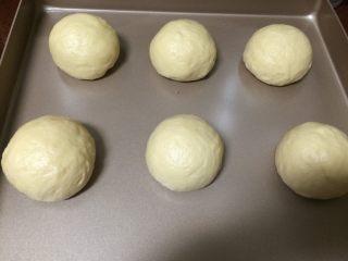 蜂蜜小面包,进行二次揉剂子,每一个揉至光滑后,放在不粘烤盘里,送入烤箱内以38度45分钟二次发酵