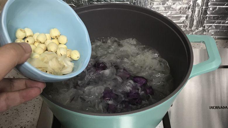 紫薯银耳汤,下入莲子,百合