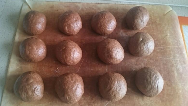 巧克力毛毛虫面包,每个团圆,盖保鲜膜,松弛20分钟