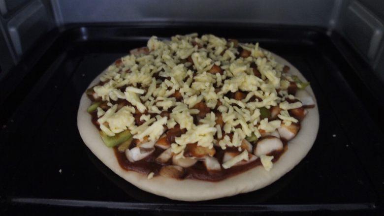 家常香菇披萨,200°20分钟后看芝士颜色
