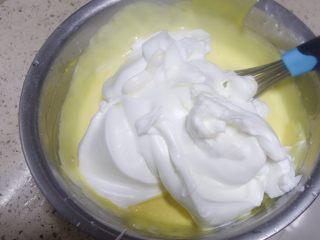 少女心萌萌哒芭比蛋糕,蛋黄面糊分两次加入蛋白霜翻拌均匀,是翻拌、切拌,用蛋抽的话Z字形搅拌,从底部挖上来一堆再甩掉,这里不能用搅拌器也不能打圈!!会消泡消泡消泡!