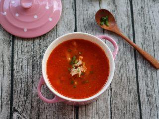 番茄肉丝浓汤,成品图
