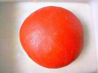 心相印红丝绒麻薯软欧,整理成光滑面团放入容器中,盖上保鲜膜,放于温暖处一发。