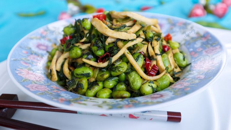 雪菜毛豆炒厚百叶