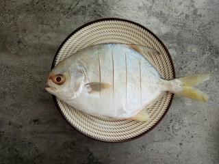 清蒸金昌鱼,在金昌鱼前后背上划几个小口,注意不要华深了