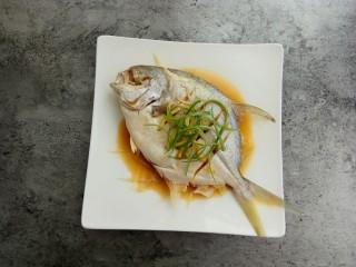 清蒸金昌鱼,最后撒上葱丝做装饰,再淋一些橄榄油或者核桃油,鲜美无比