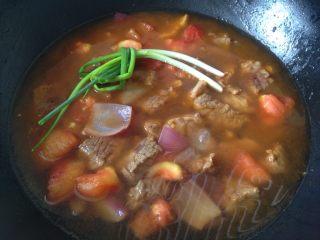 西红柿土豆炖牛肉,加水没过肉块,放入葱结大火烧开后文火慢炖一个小时(省时间我直接转到高压锅压10分钟)所以这一步没有加土豆进去