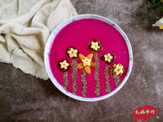 水果酸奶花样制作,祖国的花朵:火龙果+酸奶+葡萄+蛋奶星星+奇亚籽+坚果