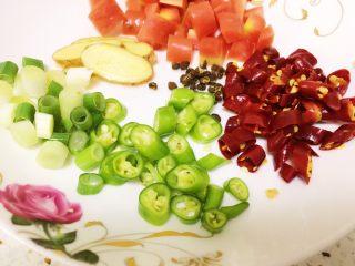 酸辣藕丁,烧水的时候,将辣椒切斜段,胡萝卜切丁,老姜切片,大葱切小段。