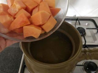 木瓜炖蟲草花肉骨汤,到肉骨的鲜味完全释放出来后,将木瓜加进来,