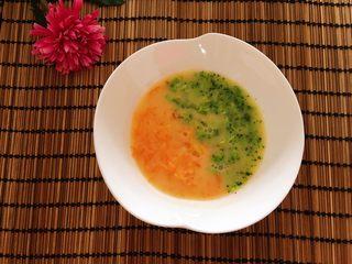 胡萝卜西兰花炖蛋,再倒入蛋液,用勺子拌匀