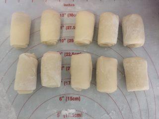 小龙虾月饼,再取一个卷换个方向,压扁擀长卷起,用保鲜膜盖好松弛15分钟