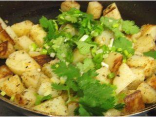 孜然土豆,洒上香菜