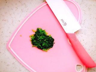 时蔬山药鸡蛋糕 宝宝辅食,将空心菜剁碎