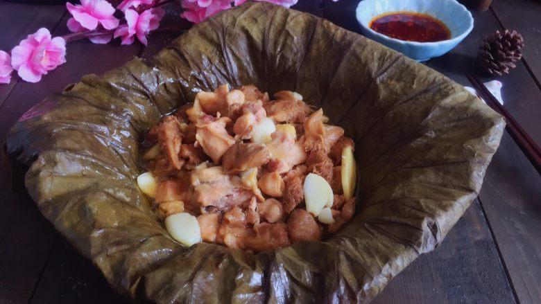 荷香蒸猴头菇鸡腿肉(附如何清洗猴头菇),成品